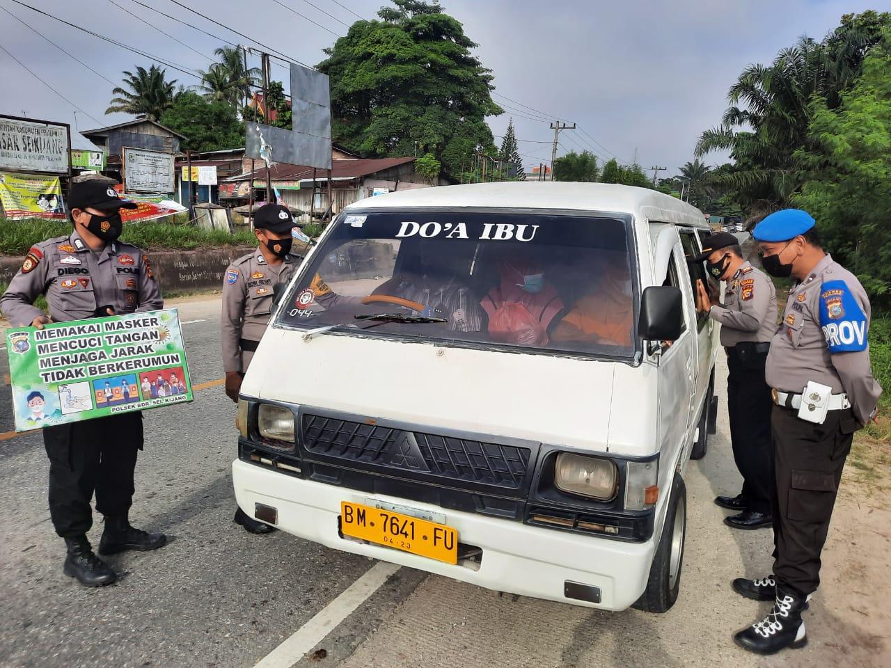 Cegahan Penyebaran Covid-19, Polsek Bandar Sei Kijang Lakukan Operasi Yustisi