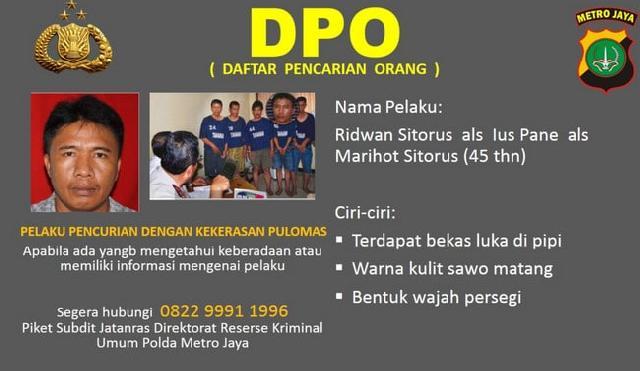 Ridwan alias Pius Pane, DPO Perampokan Pulomas Ditangkap di Medan