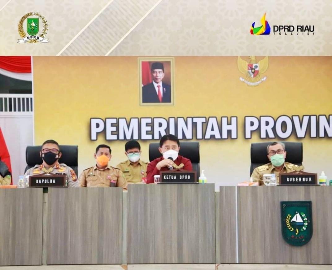 Pimpinan DPRD Riau Ikuti Rapat Penanganan dan Pencegahan Covid-19