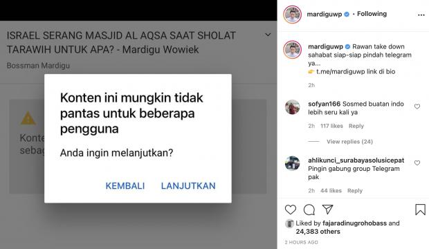 Kontennya Rawan di Take Down, Bossman Mardigu Ajak Followers ke Telegram